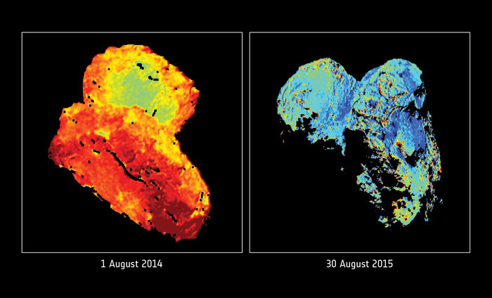 The colour of visible light reflected by Comet 67P/Churyumov–Gerasimenko on 1 August 2014 (left), shortly before Rosetta arrived at the comet, and a year later, on 30 August 2015 (right), shortly after the comet's closest approach to the Sun. The maps are derived from the comparison of images taken at wavelengths between 535 and 882 nm with Rosetta's OSIRIS narrow-angle camera. Image Credit: ESA/Rosetta/MPS for OSIRIS Team MPS/UPD/LAM/IAA/SSO/INTA/UPM/DASP/IDA; Reprinted with permission from S. Fornasier et al., Science 10.1126/science.aag2671 (2016)