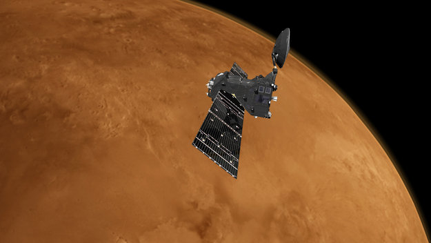 Artist's impression of the ExoMars 2016 Trace Gas Orbiter at Mars. Image Credit: ESA/ATG medialab