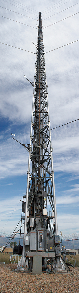 The 985-ft tower at the Boulder Atmospheric Observatory. Image Credit: Shelby Frisch