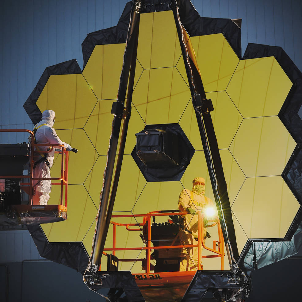 Engineers conduct a white light inspection on NASA's James Webb Space Telescope in the clean room at NASA's Goddard Space Flight Center, Greenbelt, Maryland. Image Credit: NASA/Chris Gunn