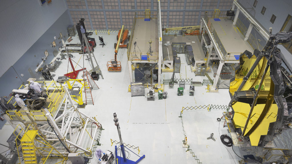 "Engineers conduct a ""Center of Curvature"" test on NASA's James Webb Space Telescope in the clean room at NASA's Goddard Space Flight Center, Greenbelt, Maryland. Image Credit: NASA/Chris Gunn"