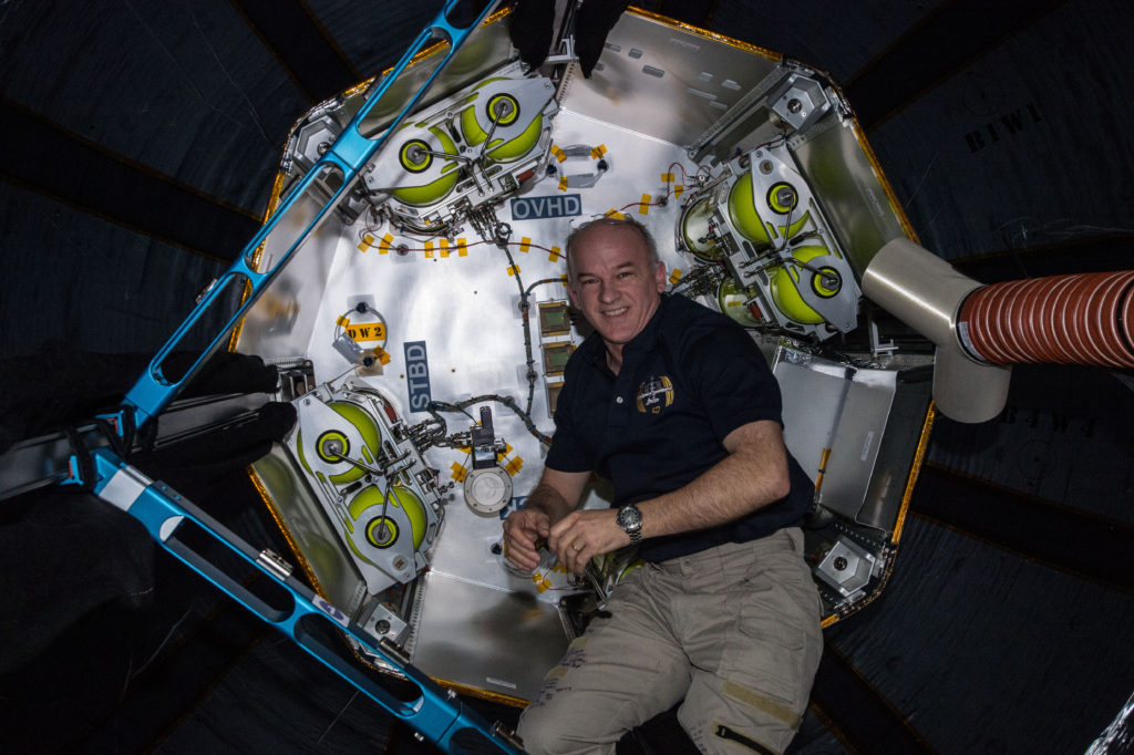 View of Jeff Williams, Expedition 47 Flight Engineer during Bigelow Expandable Activity Module (BEAM) Ingress. Image Credit: NASA