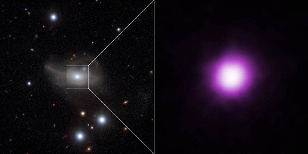 This graphic shows the AGN in optical light from the VLT (left) with a Chandra image of the galaxy's central region in X-rays showing the point source for the AGN (right). Image credit: X-ray: NASA/CXC/Univ. of Sydney/R.McElroy et al, Optical: ESO/CARS Survey