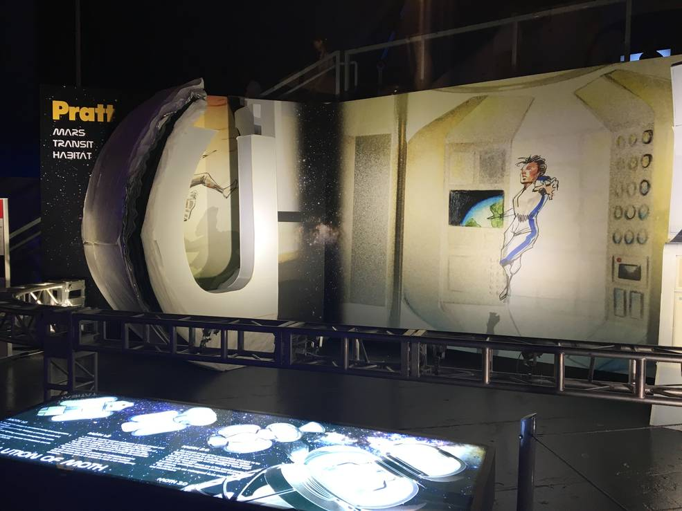 The Pratt Institute transit habitat concept is shown here on public display at the Intrepid Museum's Space and Science Festival July 14-17, 2016. Image Credit: The Pratt Institute